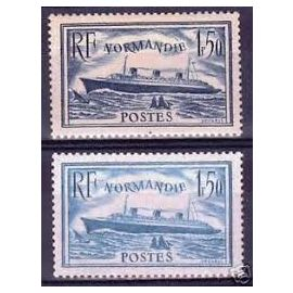 """paquebot """"normandie"""" la paire année 1935 n° 299 300 yvert et tellier oblitérés cachets ronds"""