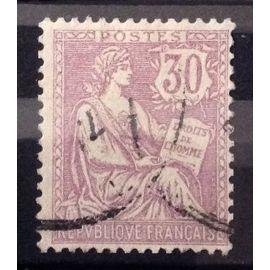 Mouchon (Retouché = Cartouche Ecusson) 30c Violet (Très Joli n° 128) Obl - Cote 20,00€ - France Année 1902 - N10671