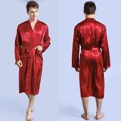 Pyjama Satin Hommes Kimono Peignoir Robe Robe De Chambre Chemise De Nuit Rouge