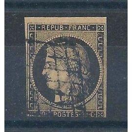 FRANCE - Timbre Classique Oblitéré Cérès N°3 - 20c Noir - Cote 60 euros