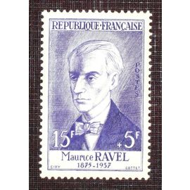 FRANCE N° 1071 neuf sans charnière de 1956 - 15f + 5f violet « Maurice Ravel, compositeur » - Cote 10 euros