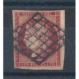FRANCE - Timbre Classique Oblitéré Cérès N°6 - 1F Carmin - Cote 950 euros