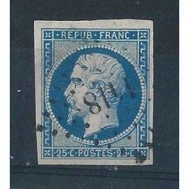 FRANCE - Timbre Classique Oblitéré Napoléon N°10 – 25c Bleu - Cote 40 euros