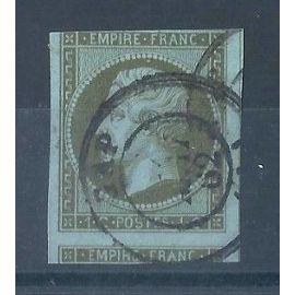 FRANCE - Timbre Classique Oblitéré Napoléon N°11 - 1c Olive – Cote 100 euros