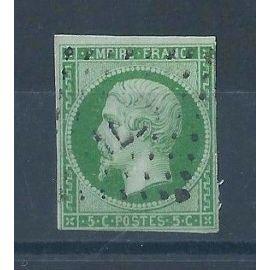 FRANCE - Timbre Classique Oblitéré Napoléon N°12b – 2c Vert-Foncé - Cote 350 euros