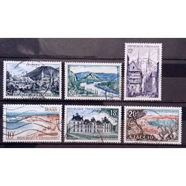 Série Touristique 1954 - N° 976 Lourdes + 977 Andelys + 978 Royan + 979 Quimper + 980 Cheverny + 981 Ajaccio Obl - France Année 1954 - N17729