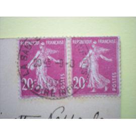 Paire de timbres oblitérés se tenant horizontalement - Semeuse fond plein 20 centimes - Y&T n° 190 - Sur carte postale ancienne de Le Pouliguen (44)