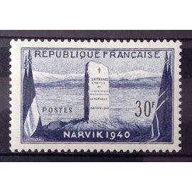 Bataille de Narvik en 1940 - 12ème Anniversaire - 30f (Impeccable n° 922) Neuf** Luxe (= Sans Trace de Charnière) - Cote 4,00€ - France Année 1952 - N25590