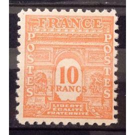 Arc de Triomphe Ecriture Couleur 10f orange (Superbe n° 629) Neuf* - Cote 21,50€ - France Année 1944 - N25679