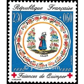 au profit de la croix rouge : faïence de quimper : assiette avec bretonne en costume régional année 1990 n° 2646 yvert et tellier luxe