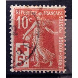 Croix Rouge Semeuse 10c+5c rouge (Très Joli n° 147) Obl - Cote 4,00€ - France Année 1914 - N10805