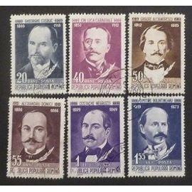roumanie oblitéré y et t n° 1664 à 1669 lot de 6 timbres de 1960 Ecrivains roumains (série complète)