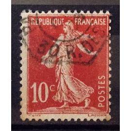Semeuse 10c rouge Avec Sol (Très Joli n° 134) Oblitération Hexagonale - France Année 1906 - N23400