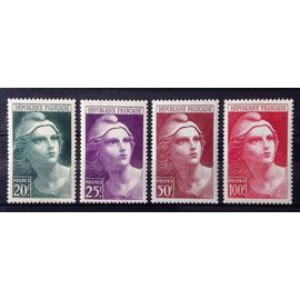 Série Marianne de Gandon - Grands - N° 730 731 732 733 Neufs* - Cote 12,45€ - France Année 1945 - N25708