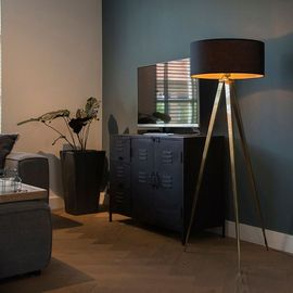 Qazqa Moderne Lampadaire Lampe De Sol Lampe Sur Pied Luminaire Lumiere Eclairage Tripe Laiton Avec Abat Jour Noir Tissu Acier Laiton Noir