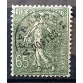 Préoblitéré Semeuse 65c Lignée olive (Très Joli n° 49) Obl - Cote 4,90€ - France Année 1922 - N10857