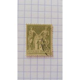 Lot n°106 ■ timbre oblitéré france classique n ° 82 ---- 1f olive clair