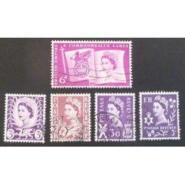 royaume-uni oblitéré y et t n° 313 315 316 318 321 lot de 5 timbres de 1958-67