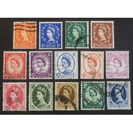 royaume-uni oblitéré y et t n° 327 et plus lot de 14 timbres de 1958-65