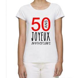 T Shirt Premium Femme Joyeux Anniversaire 50 Ans Manche Courte Col Rond