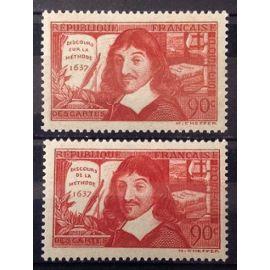 Série René Descartes 1937 - Discours de la Méthode - Superbes N° 341-342 Neufs* - Cote 9,30€ - France Année 1937 - N25398