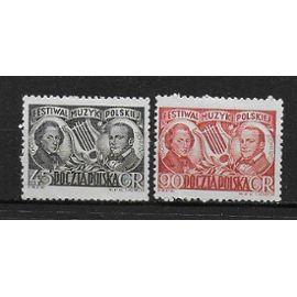 POLOGNE 1951 : Festival national de musique : Chopin et Monluszko - Série entière de 2 timbres NEUFS *