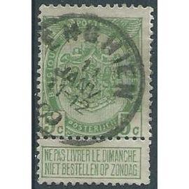 """Armoiries 1907 Belgique n° 83 avec vignette """"ne pas livrer le dimanche"""""""