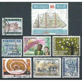Lot 8 Timbres Belgique Oblitérés 1962 à 1995 n° 1223/1249/1353/1360/1424/1462/2603/2610