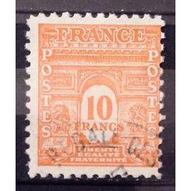 Arc de Triomphe Ecriture Couleur 10f orange (Superbe n° 629) Obl - Cote 27,50€ - France Année 1944 - N25809