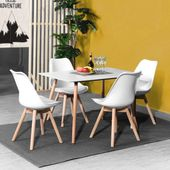 Ensemble Table à Manger Rectangulaire Et 4 Chaises Scandinave Bois Blanc