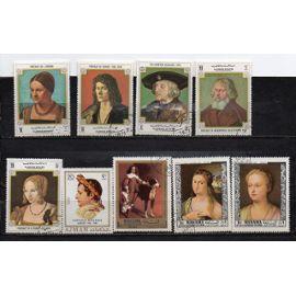 Emirats Arabes Unis ( Ajman- Manama)- Lot de 11 timbres oblitérés et 1 timbre neuf -Tableaux