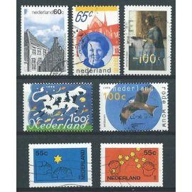 Lot de 7 timbres oblitérés Pays Bas 1980 à 1995