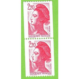 France 1985 PAIRE Roulettes N°2379 Liberté: N° Rouge (n° 000) tenant à normal