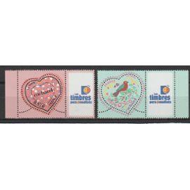 """france, 2005, timbres personnalisés, saint-valentin (coeurs du couturier cacharel), n°3747a + 3748a (vignette """"les timbres personnalisés""""), neufs."""