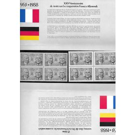 france, Bloc timbres 25e anniversaire du traité sur la coopération franco-allemande 1963-1988