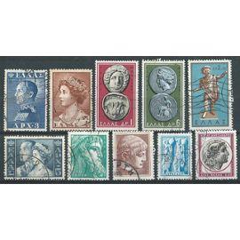 lot de 10 timbres Grèce oblitérés années 1957 à 1959