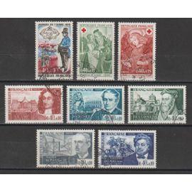 france, 1970, célébrités & personnages célèbres, journée du timbre, au profit de la croix-rouge, n°1623 à 1625 + 1627 + 1628 + 1632 + 1661 + 1662, oblitérés.