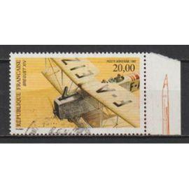 france, 1997, poste aérienne, biplan breguet X.I.V., n°61a (avec bord de feuille illustré, dentelé 13 x 13,5), oblitéré.