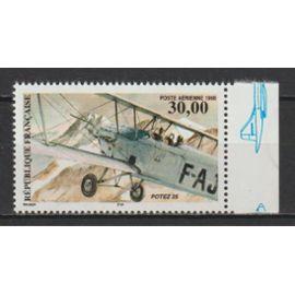 france, 1998, poste aérienne, biplan potez 25, n°62a (avec bord de feuille illustré, dentelé 13 x 13,25), neuf.