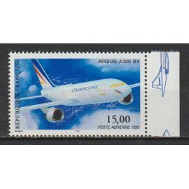 france, 1999, poste aérienne, airbus a300-b4, n°63a (avec bord de feuille illustré, dentelé 13 x 13,25), neuf.