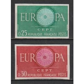 france, 1960, europa, n°1266 + 1267 (non dentelés), neufs.