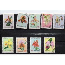 Pologne- Série de 9 timbres oblitérés- Fleurs