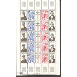 1698A (1971) Bande Général de Gaulle en feuille complète N** (cote 25e) (BL-2)