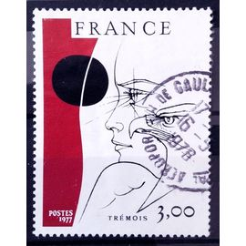 Trémois - oeuvre Originale 3,00 (Joli n° 1950) Oblitération Aéroport Charles de Gaulle - France Année 1977 - N12317