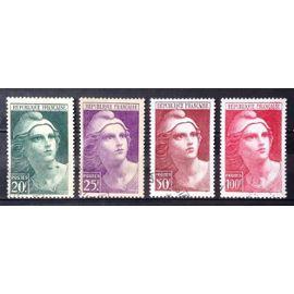 Série Marianne de Gandon - Grands - N° 730 731 732 733 Obl - Cote 13,05€ - France Année 1945 - N25812
