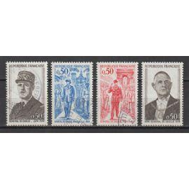 france, 1971, anniversaire de la mort du général de gaulle, timbres parmi les N°1695 à 1698, oblitérés.