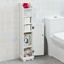 Sobuy Frg177 W Support Papier Toilette Armoire Toilettes Porte Brosse Wc En Bois Blanc Rakuten