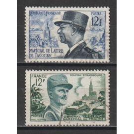 france, 1954, maréchal de lattre de tassigny, maréchal leclerc, n°982 + 984, oblitérés.