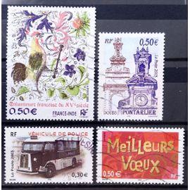 France-Inde Enluminure Française 0,50€ (N° 3629) + Pontarlier 0,50€ (N° 3608) + Véhicule Police 0,50€ (N° 3616) + Meilleurs Voeux 0,50€ (N° 3623) Obl - France Année 2003 - N17786