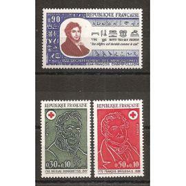 1734 à 1736 (1972) Champollion et Série Croix-Rouge N** (cote 2,3e) (4564)